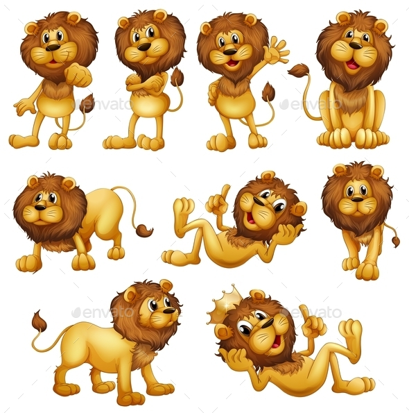 Lions in different Positions - Animals Characters