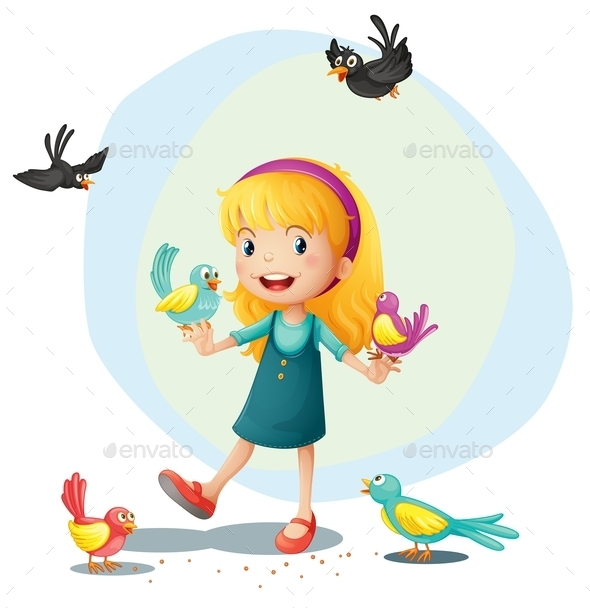 A Girl Playing with the Birds - People Characters