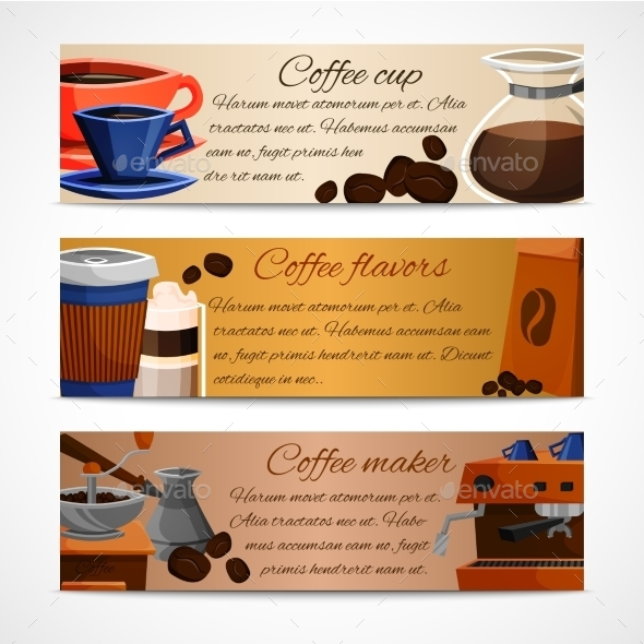 Coffee Banners Set - Food Objects