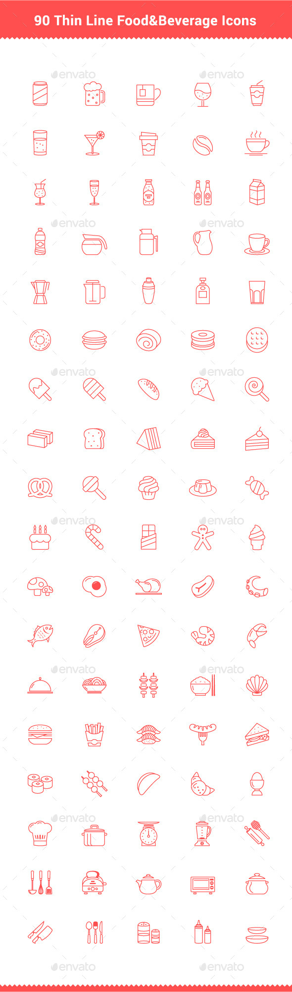 90 Thin Line Stroke Food and Beverage Icons - Food Objects