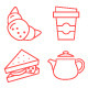 90 Thin Line Stroke Food and Beverage Icons