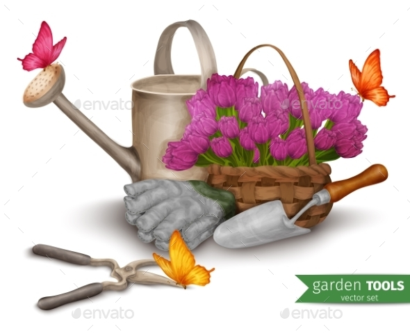 Garden Tools Background - Objects Vectors