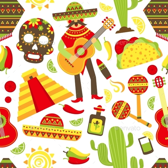 Mexico Seamless Pattern - Travel Conceptual