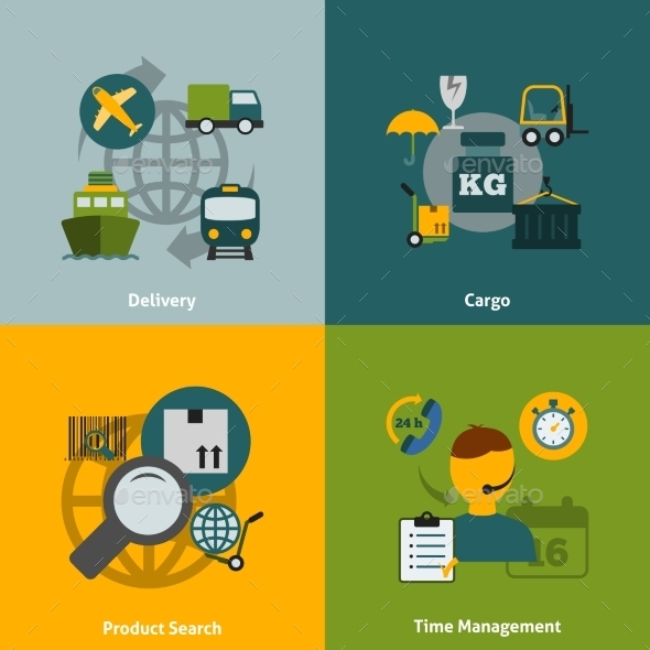 Logistic Flat Icons Composition - Concepts Business