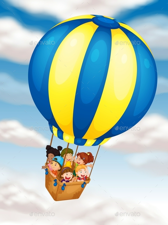 Kids Flying in Hot Air Balloon - People Characters