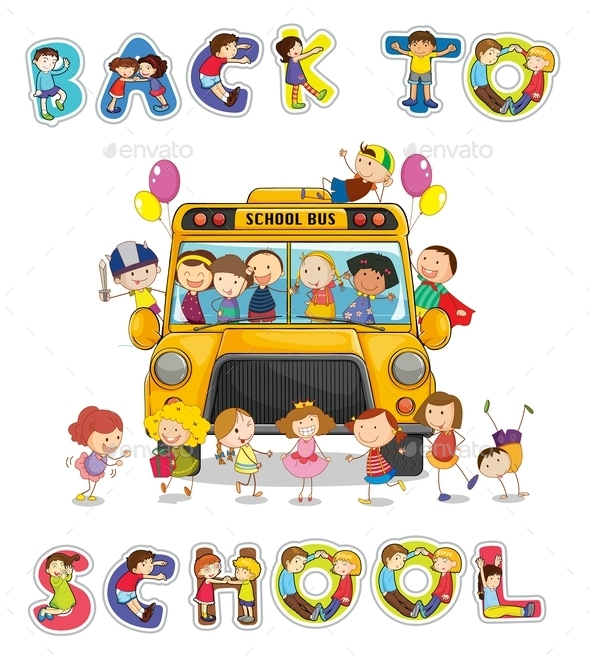 School Bus and English Word Back to School - People Characters