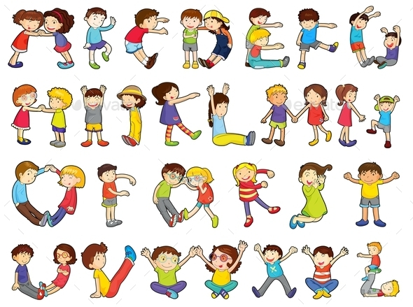 Alphabets in Kids Activities - People Characters