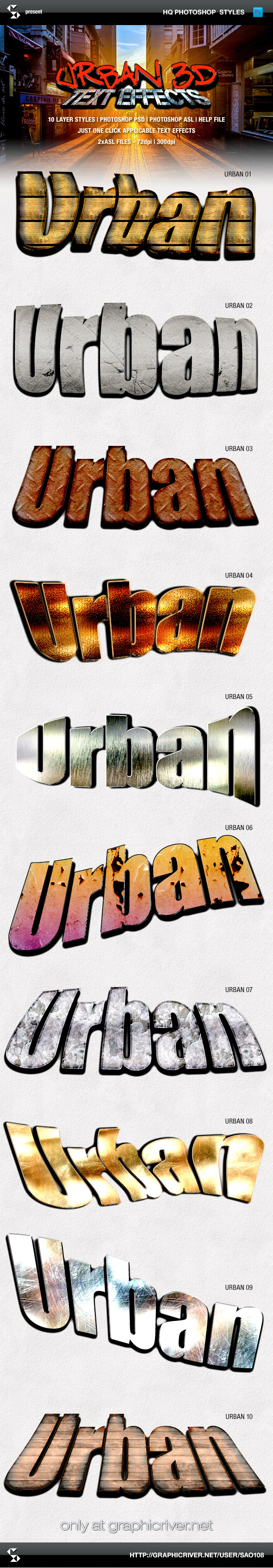 Urban Style 3D Text Effects - Text Effects Styles