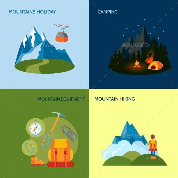 Camping Icons Set Flat - Travel Conceptual