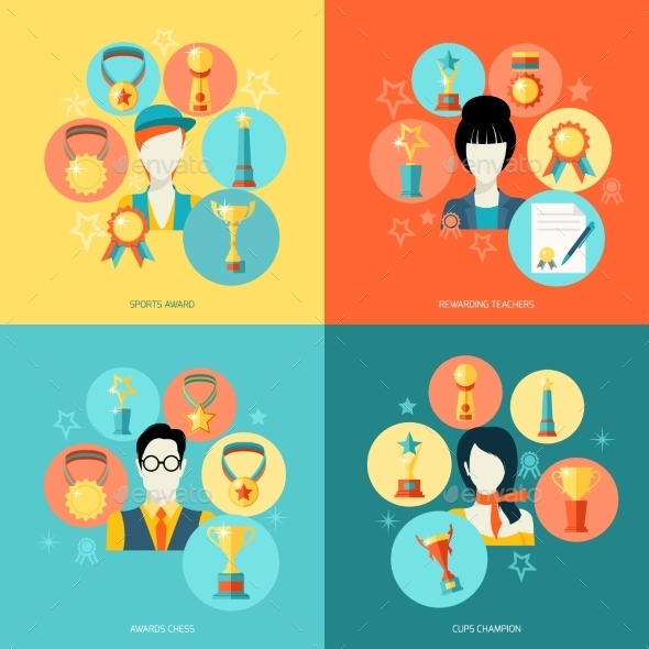 Trophy Icons Set Flat - Concepts Business