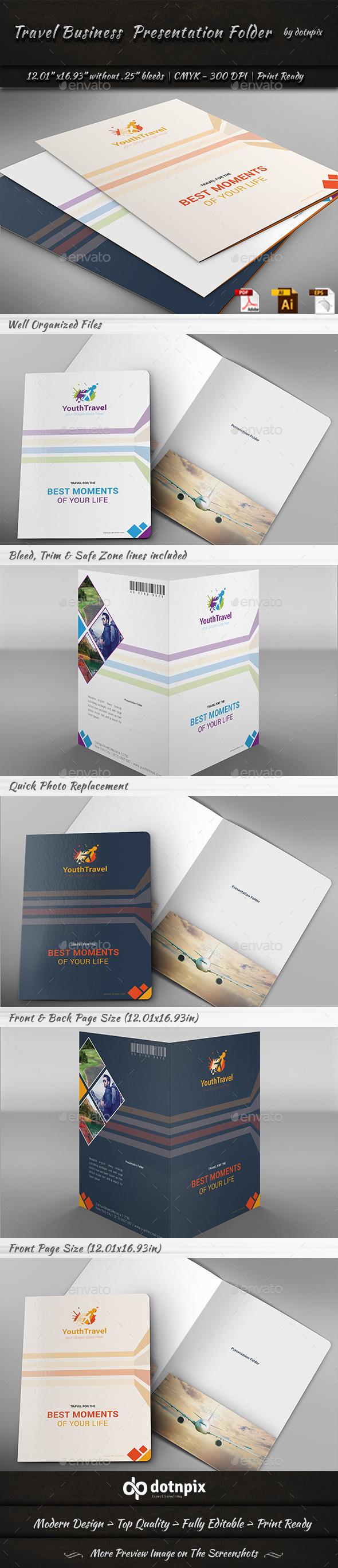 Travel Business Presentation Folder - Stationery Print Templates