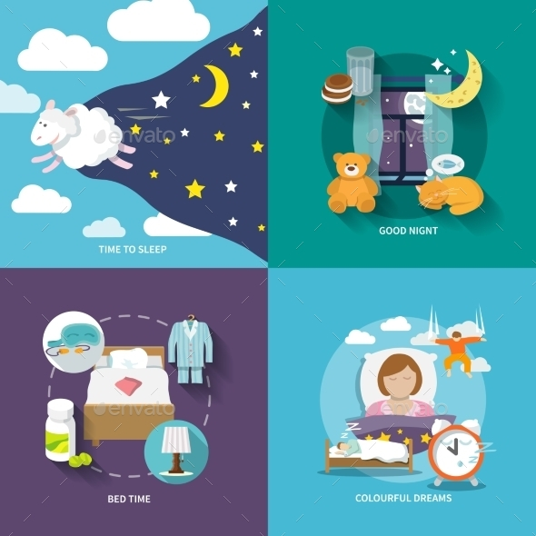 Sleep Time Icons Flat - Decorative Vectors