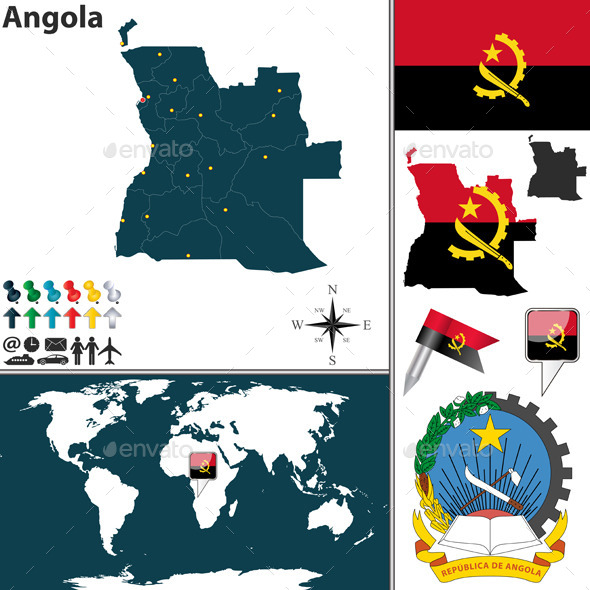 Map of Angola - Travel Conceptual