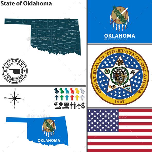 Map of State Oklahoma, USA - Travel Conceptual