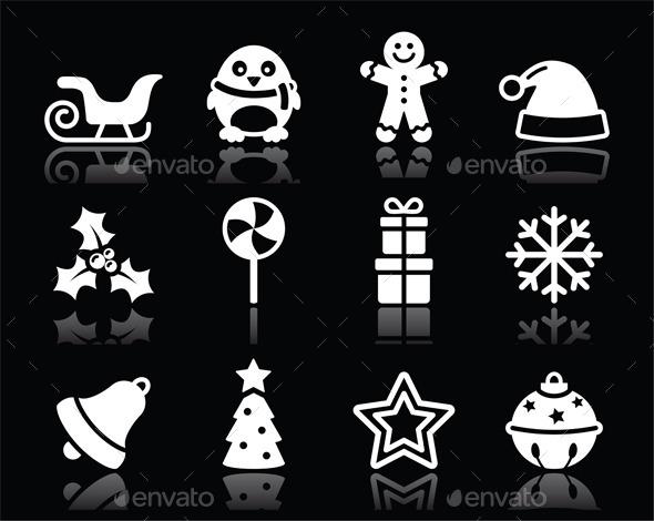 Christmas White Icons Set - Christmas Seasons/Holidays