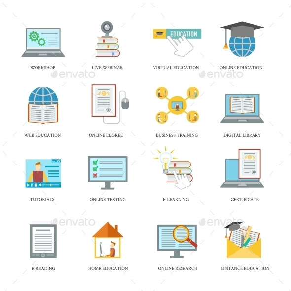 Online Education Icon Set - Web Technology