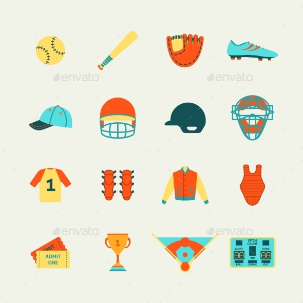 Baseball Icons Set Flat - Web Elements Vectors
