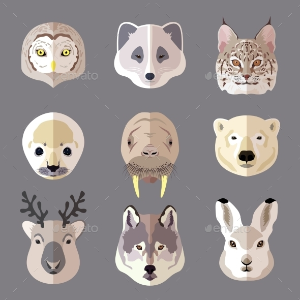 Animal Portrait Flat Icon Set - Animals Characters