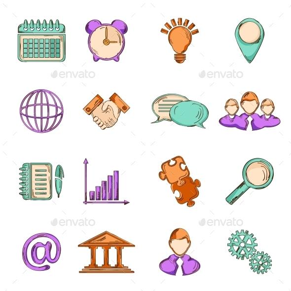 Business Sketch Line Icons - Web Elements Vectors