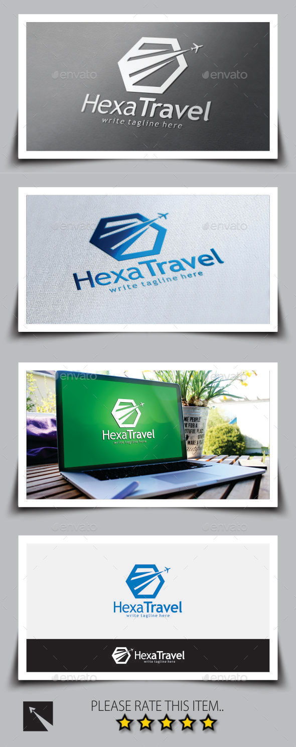 Hexagon Travel Logo Template - Objects Logo Templates