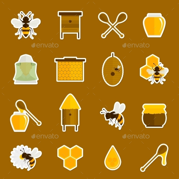 Honey Bee Icon Set - Industries Business