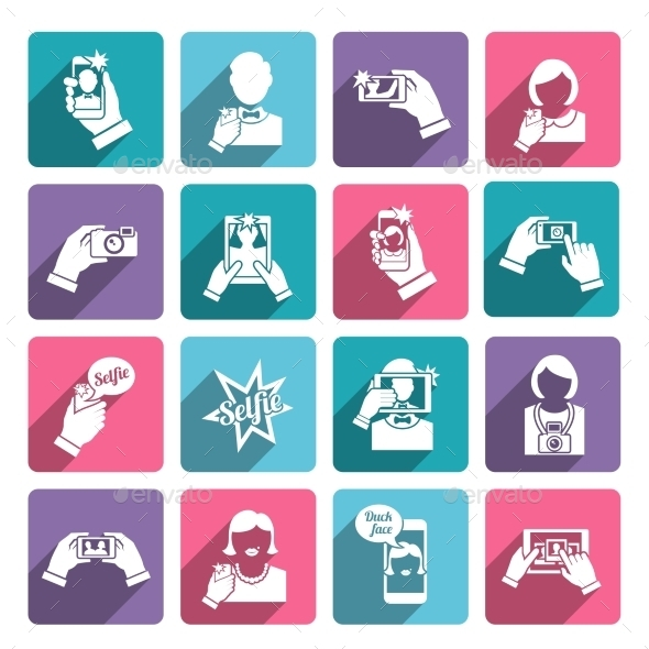Selfie Icons Flat - Technology Icons
