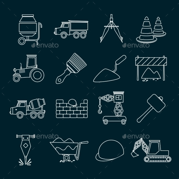 Construction Icons Set Outline - Web Technology