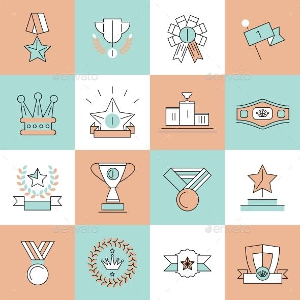 Award Icons Set - Web Technology