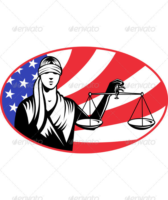 Lady Carrying Scales of Justice With American Flag - Conceptual Vectors