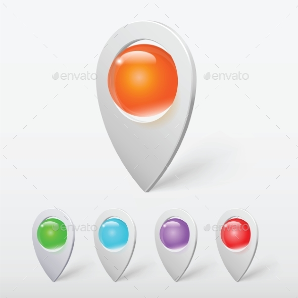Realistic Crystal Ball Colorful Pointers or Pins V - Web Technology