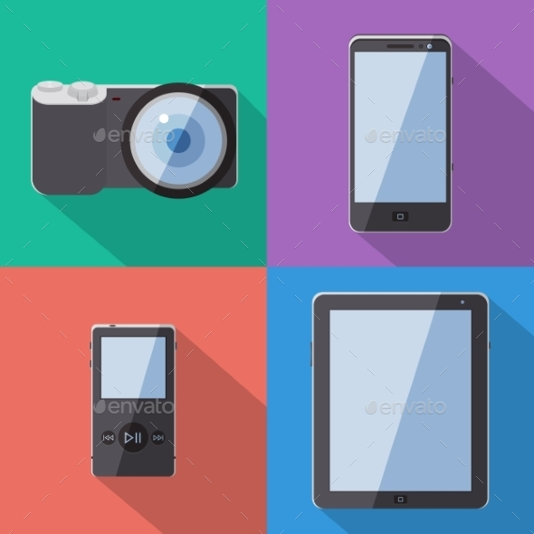 Flat Style Gadgets With Long Shadow Vector Set - Web Technology
