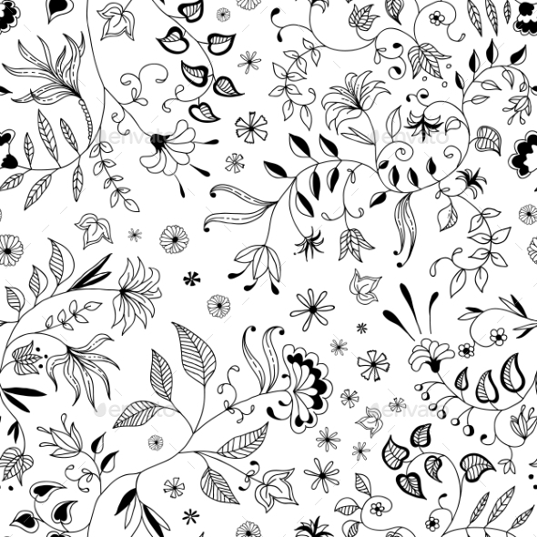 Flower Seamless Floral Pattern or Background Thin  - Flowers & Plants Nature