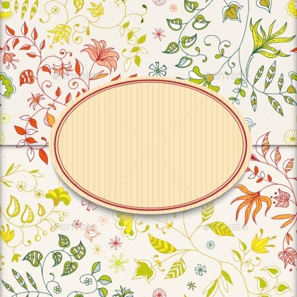 Flower Retro Sticker Background - Decorative Symbols Decorative