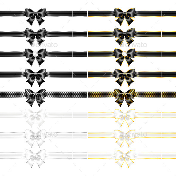 Black and White Bows with Ribbons - Decorative Vectors