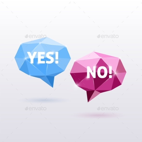 Yes and No Triangle Polygonal Vector Speech Bubble - Web Technology