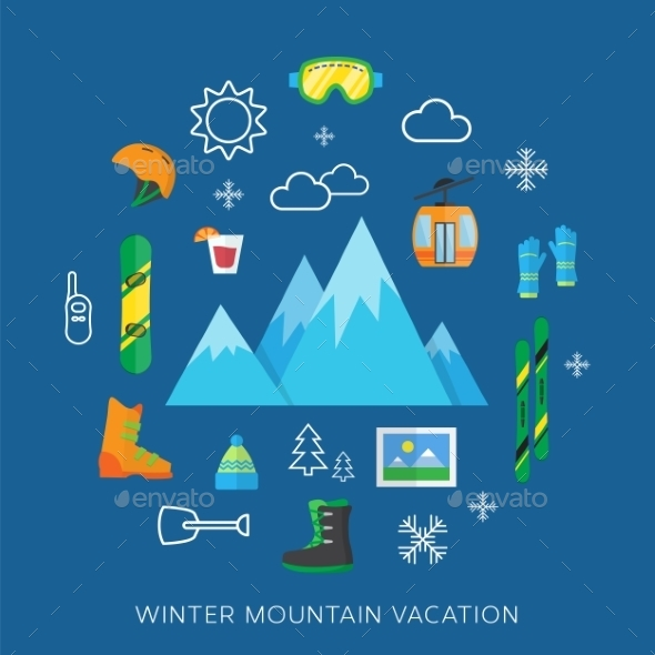 Winter vacation flat vector icon set - Sports/Activity Conceptual