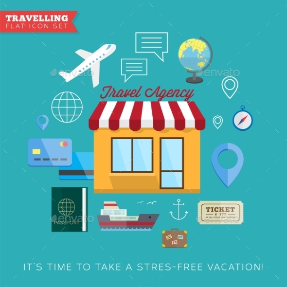 Travel and vacation flat vector icon set - Travel Conceptual