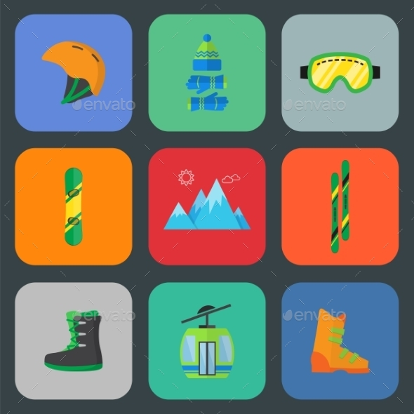 Ski and Snowboard Flat Icon Set - Seasonal Icons