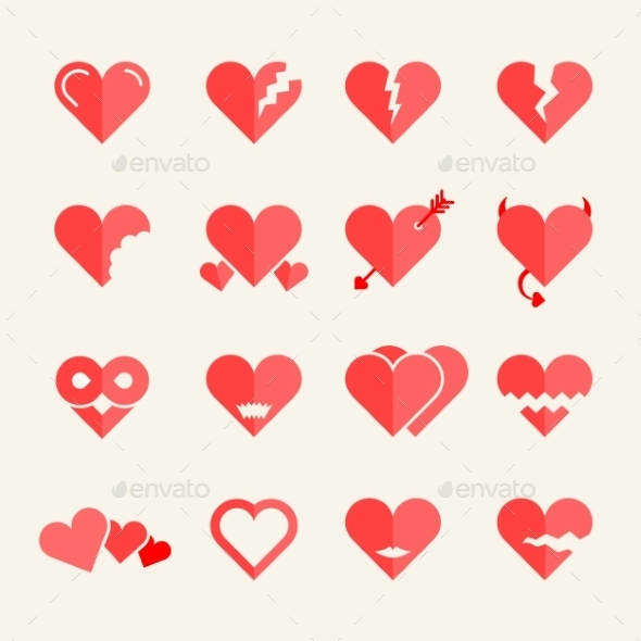 Flat vector hearts set - Valentines Seasons/Holidays