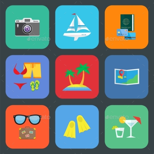 Flat Travel or Vacation Icon Set - Seasonal Icons
