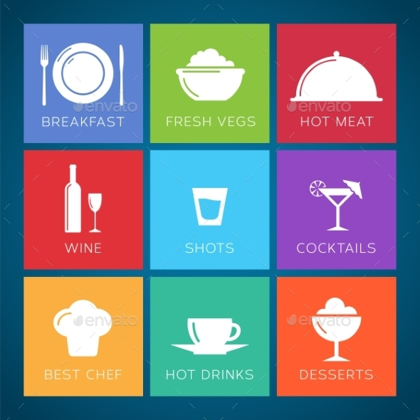 Bar and Restaurant Flat Style Vector Icon Set - Food Objects