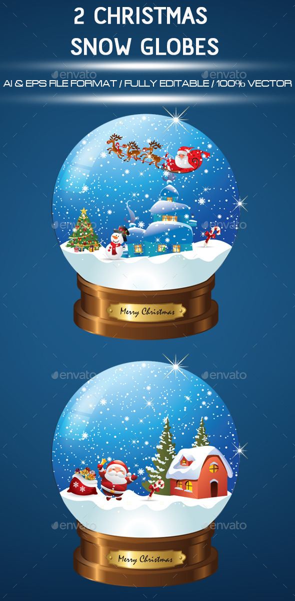 2 Christmas Snow Globes - Christmas Seasons/Holidays