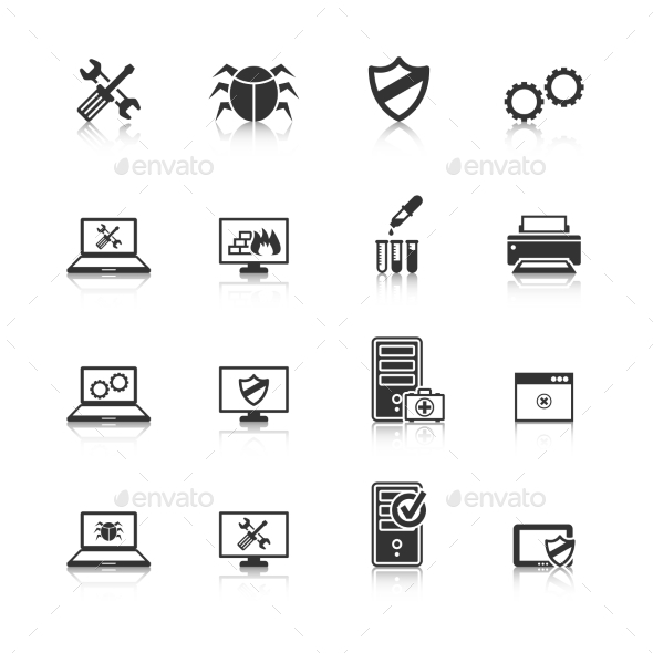 Computer Repair Icons Set - Technology Icons