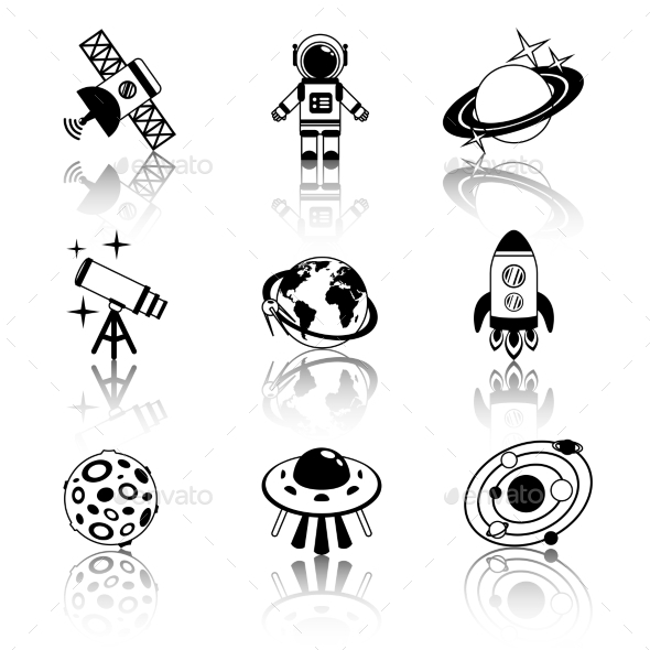 Space Icons - Web Elements Vectors