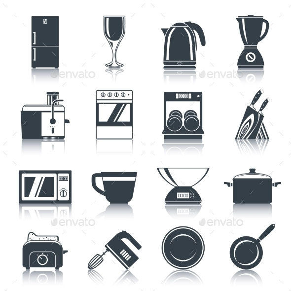 Kitchen Appliances Icons Black - Objects Icons