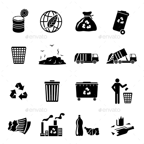 Garbage Icons Black - Technology Icons