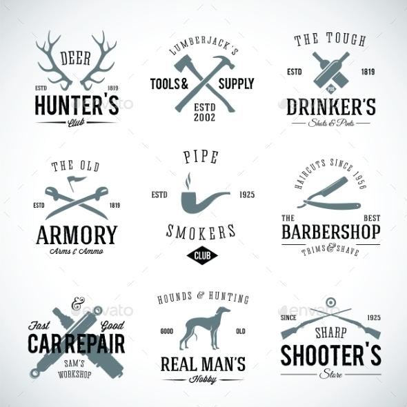 Set of Vintage Labels With Retro Typography  - Decorative Symbols Decorative