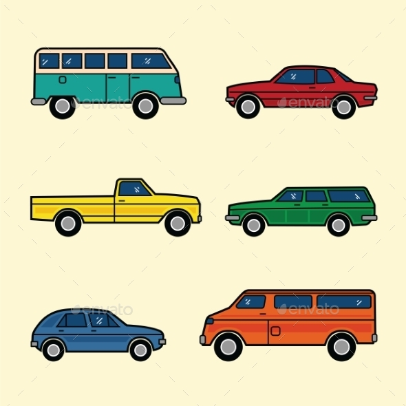 Line Style Color Vector Cars Set - Objects Vectors