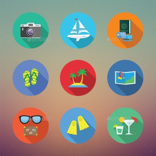 Vacation or Travelling Flat Style Vector Icon Set  - Travel Conceptual