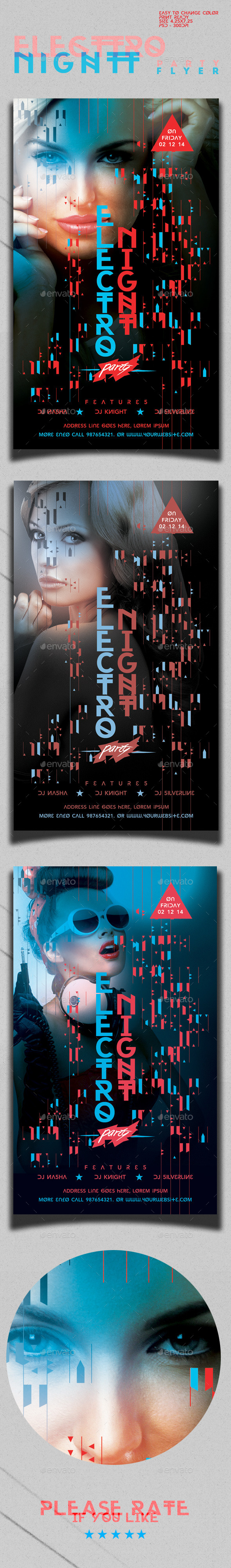 Electro Night Party Flyer Template - Clubs & Parties Events